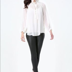 NWT Bebe pleated neck blouse